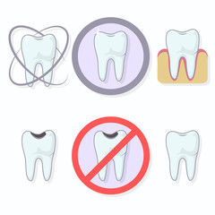 Icons teeth. Shining tooth and tooth caries