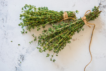 Canvas Prints Condiments Thyme on a white background. A bunch of fresh thyme