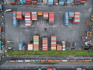 aerial top view container in port warehouse waiting for export .