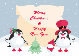 Christmas greeting card with the image of cute penguins. Children's vector background.
