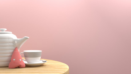 Cup and teapot on wooden table nice picture in the pink room sweet color valentines day