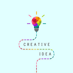 Creative idea concept with dotted line and colorful lightbulb