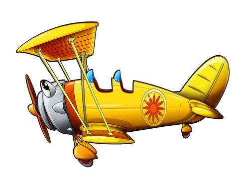 cartoon scene old style plane smiling illustration for children