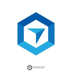 hexagon forward box arrow, abstract polygon logo template. logistic delivery courier transport service logo concept design.