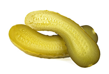 Pickled cucumber slices on a white background