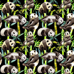 Tropical  bamboo tree and panda pattern in a watercolor style. Aquarelle wild bamboo tree and panda for background, texture, wrapper pattern, frame or border.