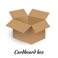 Open cardboard box on white background. Vector Illustration
