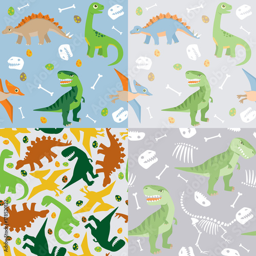Cute dinosaur seamless pattern set