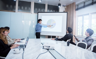 business people meeting in conference training or learning coaching Concept.
