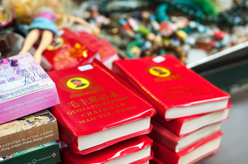 Chairman Mao's Little Red Book on sale at Upper Lascar Row street market, Sheung Wan, Hong Kong