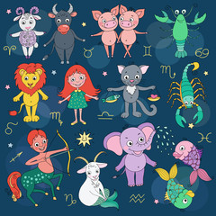 Big set of cute fantastic animals and characters as zodiac signs
