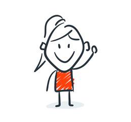 Strichfiguren - Frauchen: Comicfigur, Begrüßung, winken. (1)