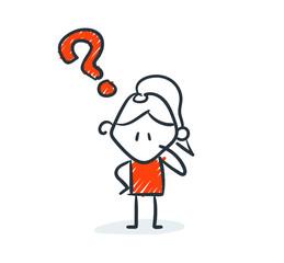 Strichfiguren - Frauchen: Frage, nachdenken. (3)