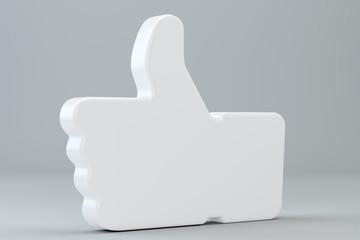 Concept 3d rendering - stylish social media like hand icon Symbol