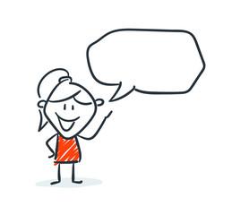 Strichfiguren - Frauchen: Comic, Sprechblase, reden. (8)