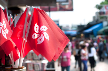 Zelfklevend Fotobehang Hong-Kong Souvenir Hong Kong national flags at Stanley Market, Hong Kong