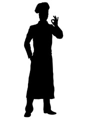 Cook vector silhouette, outline chef standing front side full-length, contour portrait male young human in a chef s form, toque, in an apron, isolated on white background, monochrome illustration