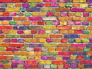 multicolor brick wall, bright color stone surface background