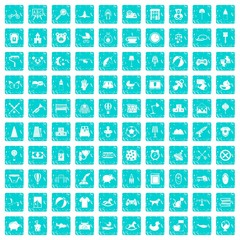 100 nursery icons set grunge blue