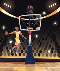Basketball player dunking in basketball arena