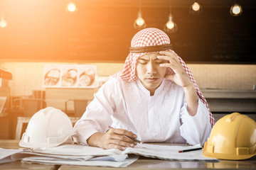 arabian business man stress and depress with business concept