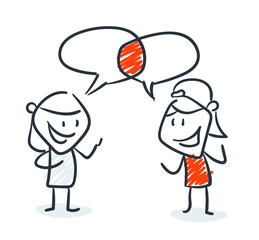 Strichfiguren - Frauchen: Gemeinsamkeiten, Sprechblasen. (13)