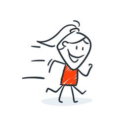 Strichfiguren - Frauchen: Rennen, eilig. (15)