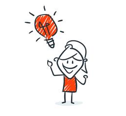 Strichfiguren - Frauchen: Idee, Glühlampe. (16)