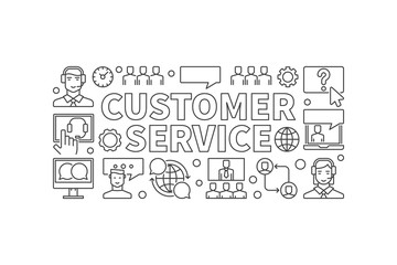 Customer service illustration. Vector customer support banner