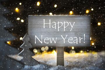 White Christmas Tree, Text Happy New Year, Snowflakes