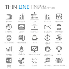 Collection of business thin line icons