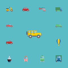 Flat Icons Boat, Lorry, Airship And Other Vector Elements. Set Of Vehicle Flat Icons Symbols Also Includes Transport, Sky, Car Objects.