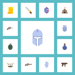 Flat Icons Viking Helmet, Gun, Dynamite And Other Vector Elements. Set Of  Flat Icons Symbols Also Includes Shotgun, Helmet, Gem Objects.
