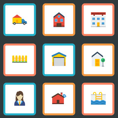 Flat Icons Truck, Depot, Wooden Barrier And Other Vector Elements. Set Of Immovable Flat Icons Symbols Also Includes Woman, Basin, Van Objects.