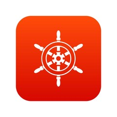 Wheel of ship icon digital red