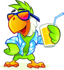 Exotic cartoon parrot with sunglasses holding glass of orange juice