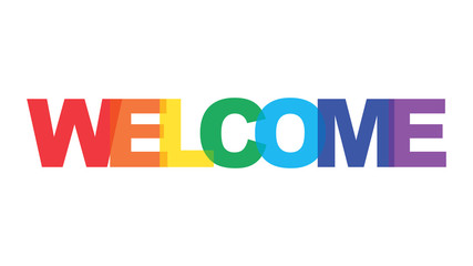 Welcome rainbow color text logo element