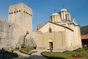 The panorama of medieval orthodox monastery Manasija (Resava) located in Serbia and surrounded by the fortress walls