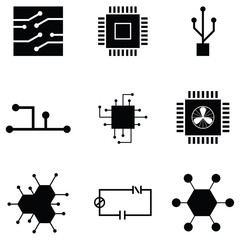 circuit board icon set