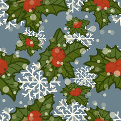 Merry Christmas and Happy New Year design in traditional style. Holly or Mistletoe minimal design. Christmas seamless pattern in vintage style. Mistletoe vector pattern isolated on grey background.