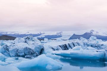 Famous glacier lagoon called Jokulsarlon in Iceland before sunset