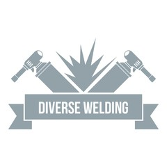 Welding tool logo, simple gray style