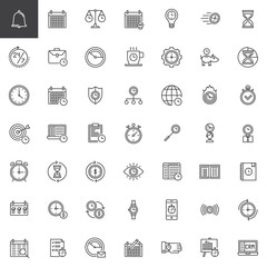 Time management line icons set, outline vector symbol collection, linear style pictogram pack. Signs, logo illustration. Set includes icons as calendar, stopwatch, hourglass, clock,, agenda, time