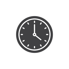 Circular wall clock icon vector, filled flat sign, solid pictogram isolated on white. Symbol, logo illustration