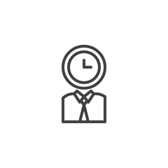Person with clock head line icon, outline vector sign, linear style pictogram isolated on white. Time management symbol, logo illustration. Editable stroke