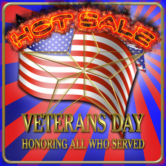 Veterans Day, Hot Sale, 3D Illustration, Honoring all who served, American holiday template.