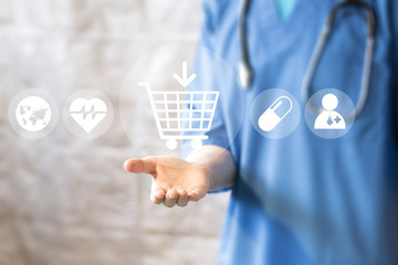 Doctor pushing button shopping service virtual healthcare in network medicine.