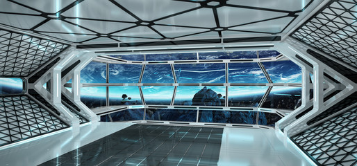 Wall Mural - Spaceship interior with view on Earth 3D rendering elements of this image furnished by NASA