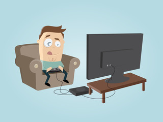 clipart of a funny man playing video game