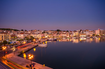 Amazing view of the port and the city of Mytilene at sunset.Mytilene is the capital and port of the island of Lesvos and also the biggest island of the North Aegean.